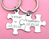 Better Together keychains, Personalized Date Keychains, Couples Keychains, Couples Gift, Puzzle piece keychain set, Anniversary Gift