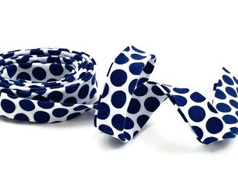 Polka Dot Navy and White Bias Tape Double Fold- Half Inch