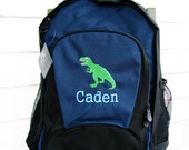 Personalized dinosaur backpack, t rex backpack, personalized backpack, boys backpack