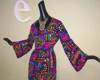 Vintage 60s 70s Groovy Psychedelic Maxi Dress Hawaiian Hippie Boho Beach Wedding Tiki Oaisi MOD Neon Colors Bell Sleeve 1960s 1970s Medium