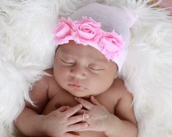 Newborn Hospital Hat, Pink & White Stripe with Shabby Roses, baby hat, take home hat, hospital, ready to ship, Lil Miss Sweet Pea