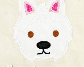 Westie Applique Embroidery Design, dog applique, west highland terrier applique, machine embroidery, dog embroidery, westie embroidery, dog