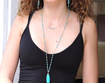 Long Turquoise Necklace, large Blue stone Jewelry, Turquoise Gold Necklace, December Birthstone necklace, blue stone necklace