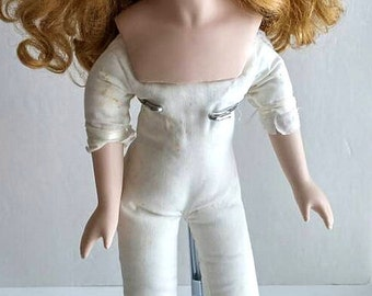 Vintage Doll in Victorian Dress,Bisque Head,Arms,Legs,Stuffed Fabric Body