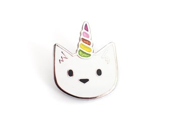 Cute Cat Enamel Pin - Unicorn Cat - GLITTER!