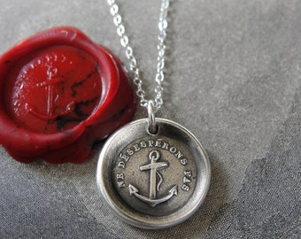 Wax Seal Necklace Do Not Despair - Hope anchor - antique wax seal charm jewelry with French motto