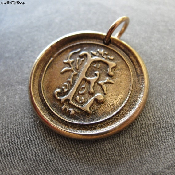 Wax Seal Charm initial E - wax seal jewelry letter E pendant in bronze