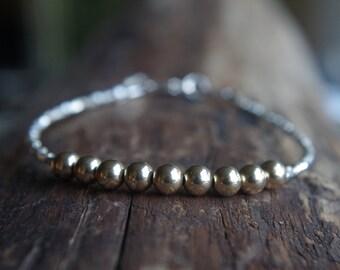 Hill Tribe Silver and 14/20 gold filled beads bracelet - Tiny bracelet - Delicate bracelet - Minimalist bracelet - Choose your size