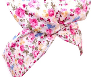 White Vintage Floral Print - Pin up wire headband - hair wrap