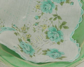 Vintage Blue Green Handkerchief Four Ladies Dainty White Cotton Kerchiefs Blue Teal Turquoise Flowers with Scalloped Edge