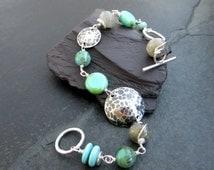 Labradorite Bracelet, Sterling Silver Bracelet, Turquoise Beaded Bracelet, Textured Silver, Silver Disc Bracelet, Silver Bracelet UK
