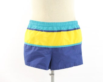 Vintage 80s SPEEDO Swim Trunks Shorts Mens Summer Swimwear Fashion 1980s Striped Blue Yellow Large L