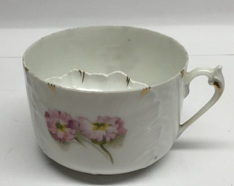 Mustache Cup BRC Gladstone Delicate Pink Flower with embossed  white,  gold trim