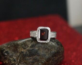 Red Garnet Engagement Ring & Diamond Halo Emerald 3 row pave 3ct 9x7mm Attis Custom Handmade White-Yellow-Rose Gold-10k-14k-18k-Platinum