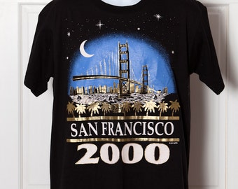 1990's Tshirt - SAN FRANCISCO 2000 - black blue shiny gold - L