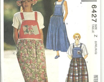 McCalls Pattern 6427 Misses Overall Style Jumper Dress (L - XL) UNCUT