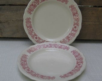 Red Floral Bread Butter Plate, Homer Laughlin Best China, Restaurant Ware, Set of TWO, Red Floral Small Plates, Vintage Plates, Made in USA