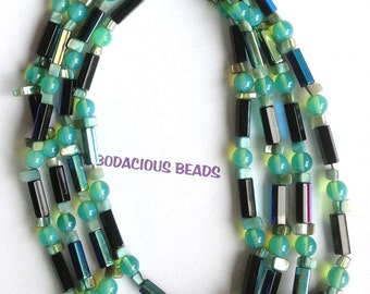 """Handmade 64"""" Iridescent Tubes Teals, Blues, Greens Funky  Rope Necklace MOP Accent Beads and Art Glass"""