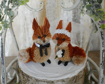 Fox wedding cake topper fall autumn red fox bride and groom porcelain country rustic animal fox wedding Mr and Mrs decorations fox bride
