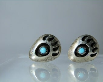 Native American Sterling Silver Turquoise Cuff Links Bear Paw Design 16 x 13 mm Unisex Cufflinks DanPickedMinerals