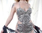 Embellished Silver Sequin Showgirl Body