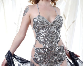 Embellished Silver Sequin Showgirl Body