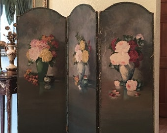 On Sale*~ BREATHTAKING! 1920's Oil Painted Dressing Screen or Room Divider!! Victorian Roses on Canvas