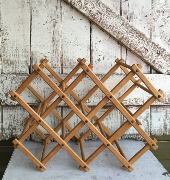 Vintage Wine Rack Folding Accordion Brown Wood Wine Rack