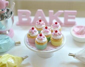 Sweet Petite Play Scale Miniature Pastel Sundae Cup Cupcakes