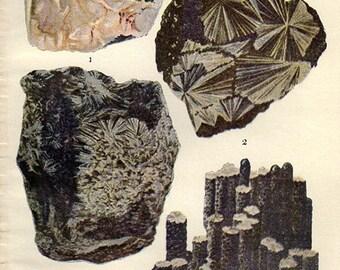 Vintage Antique Print 1911 MINERALS Crystals Prisms Gems Chart 15 precious minerals gem stones illustrations