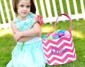 PINK CHEVRON Monogrammed Easter Basket - Girl's and Boy's Monogrammed Easter Baskets - Easter Applique - Monogrammed Easter Bucket