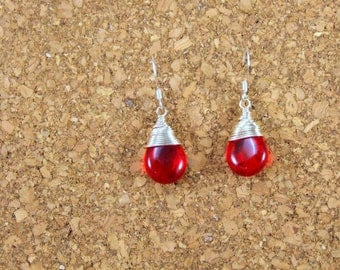 Red Drop Wire Wrapped Earrings