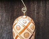 Wooden Egg Ornament Lattice and Circles Wood Burning Pyrography
