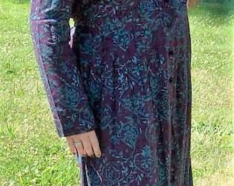 Vintage Ladies Raisin & Teal Floral Print Dress by Karin Stevens Size 12 Only 11 USD