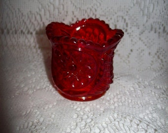 Vintage Amberina Glass Toothpick Holder Fluted Top Edge Only 6 USD