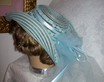 Vintage 1960s Ladies Blue Bridesmaid or Brides Lace Trimmed Hat w/ Long Veil Only 16 USD