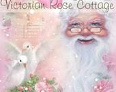 Sweet Pink Shabby Cottage Chic Style Santa Fabric Block - Art Print