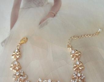Gold crystal bracelet ~ Brides bracelet ~ Wedding bracelet ~ Bridal jewelry ~ Gold bracelet ~ Gold Statement bracelet ~ Wedding jewelry