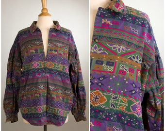1980's Southwest Sunset Patterned Button-Up Shirt.