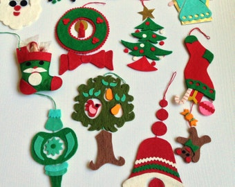 Detailed Felt Christmas Ornaments - Set of Eleven