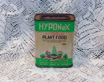 Vintage HYPONEX Plant Food Tin with Contents