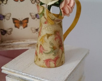 Pitcher (Jug) with roses. Dollhouse. Home decor. 1/12th scale