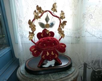 1800s antique French wedding bridal stand wedding cushion display wedding globe w ormolu flower, mirrors, red velvet cushion, porcelain shoe