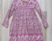 Vintage 70's Pink Indian Cotton Gauze Girls Dress (6-10 Years)