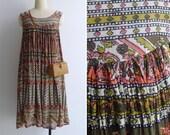 Vintage 70's Indian Cotton Gauze Ethnic Woodblock Print Paisley Tent Dress S M or L