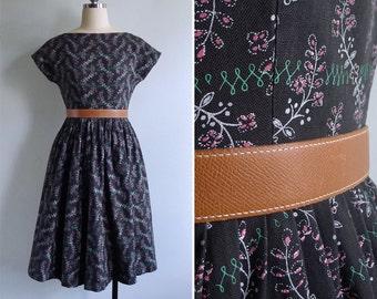 Vintage 50's 'Vine & Floral' Black Button Back Cotton Dress S