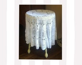 "Vintage Round White Crocheted Tablecloth - Use/Layer/Upcycle - 54"" - Scalloped Edge - Crocheted Flower Design"