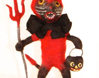 Spun cotton black cat Halloween devil costume OOAK vintage craft ornament by jejeMae