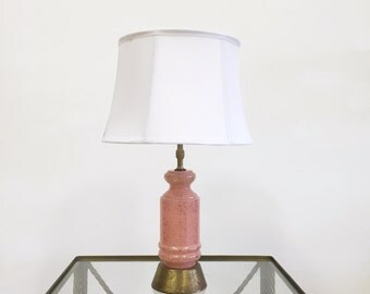 Mid Century Table Lamp, Pink Glass with Gold, Hollywood Regency Decor