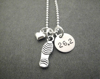 LOVE to RUN 26.2 Sterling Silver Marathon Runner Necklace - 16, 18 or 20 inch Sterling Ball Chain - Flat Shoe Print or 3 D Run Shoe - Run